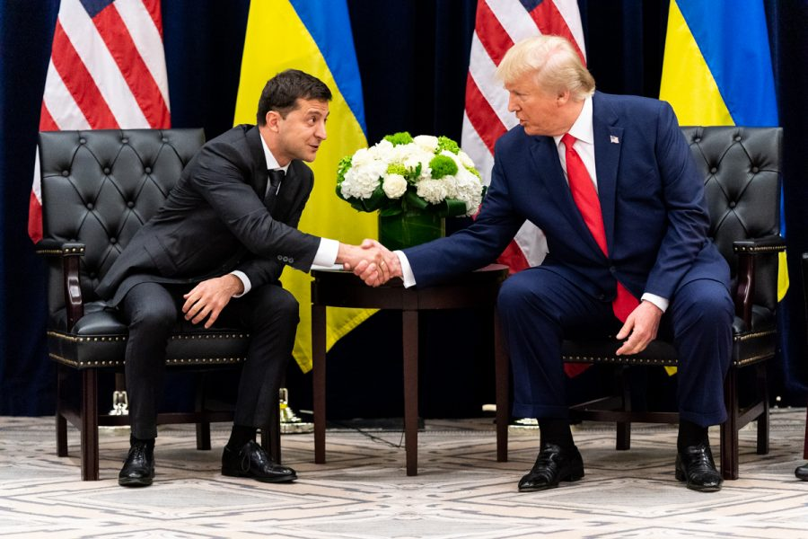 President Trump shakes hands with President Zelensky at the InterContinental New York Barclay in New York City on September 25. Photo courtesy of Wikimedia Commons.