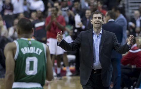 Celtics coach Brad Stevens alongside former Celtics player Avery Bradley. Photo courtesy of Wikimedia Commons.