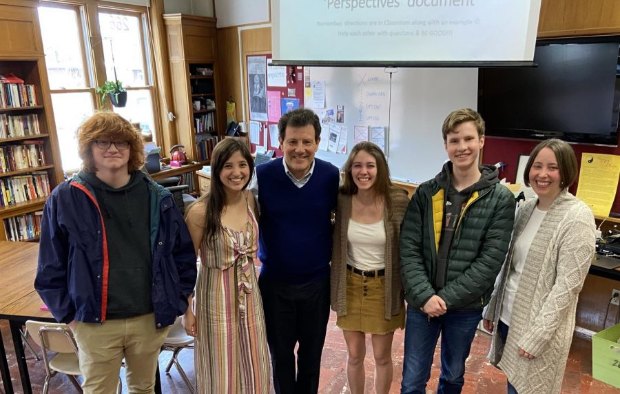 Part of the Lance staff met with Nicholas Kristof before his lecture at Hellgate. Photo by Ben Allan Smith.
