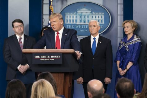 President Trump addresses questions at White House press briefing on March 18, 2020. Photo courtesy of Wikimedia Commons.