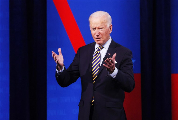 President Joe Biden at a recent televised town hall. Photo courtesy of NBC News.