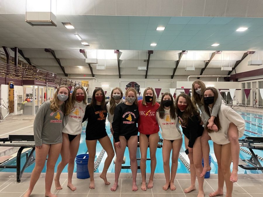Hellgate's 2021 girl's swim team. From left to right: Taylor Walker, Avery Maxwell, Ali Caudle, Eden Maxwell, Kihla Lax, Kensey May, Ellen Davis, Hazel Seagrave, Lauren Riley, Taylor Thorne.  Photo courtesy of Coach Jay Friend.