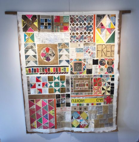 Shown above is the Northside Garbage Quilt done by art teacher Joanna Laporte. Each design is made out of trash Laporte collected in the Northside neighborhood.  Photo courtesy of Joanna Laporte