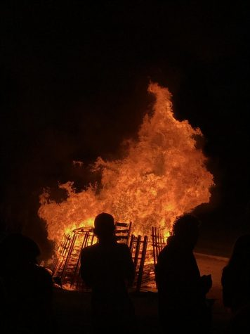 The Homecoming bonfire still went on as it was an outside event. Photo courtesy of Jack Kinderwater